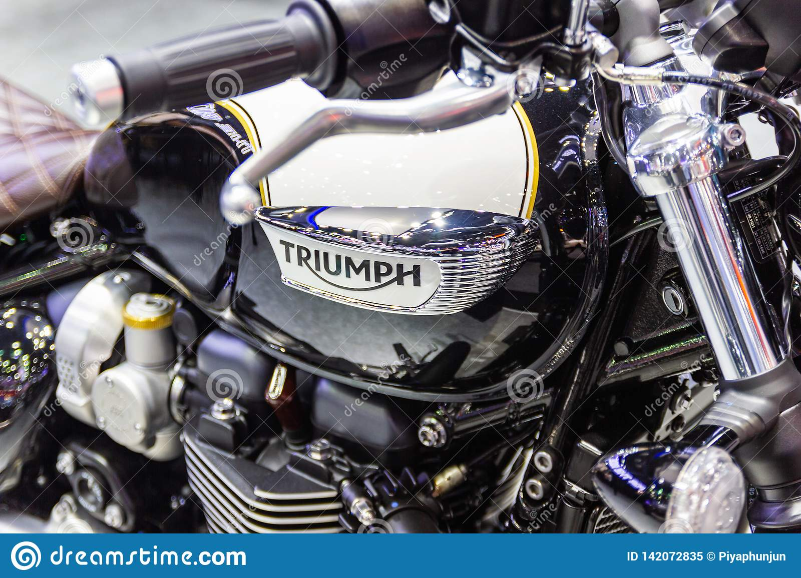 Closeup Logo Triumph Motorcycle At International Motor Show