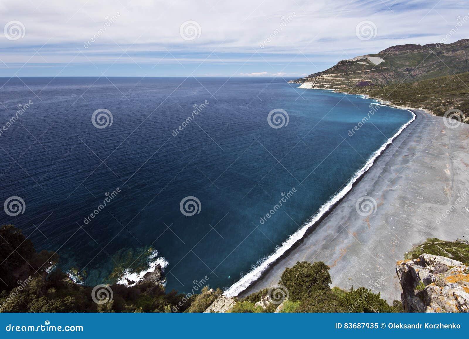 Nonza strand i den Cap Corse halvön