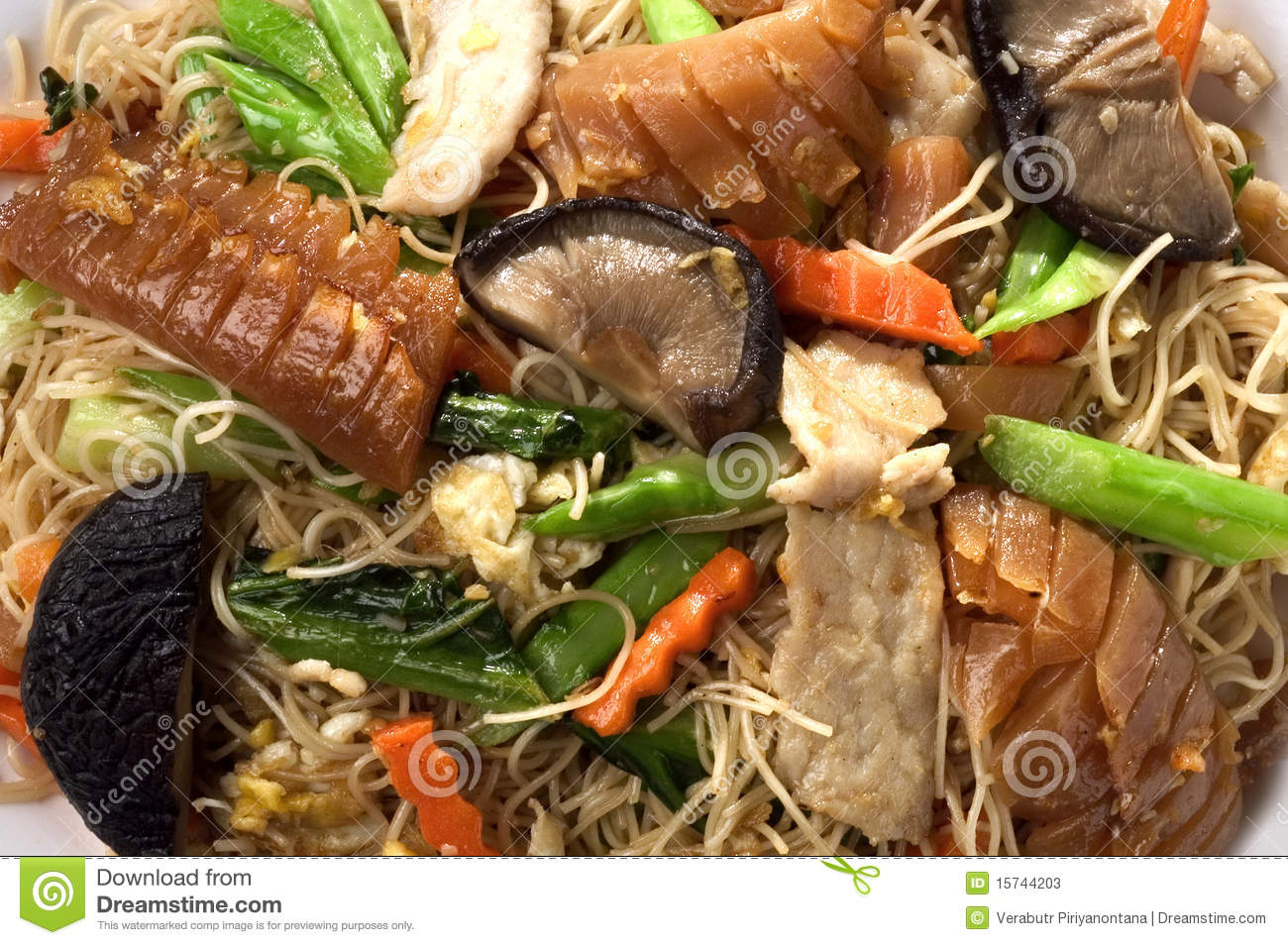 Noodle fried mixed Asian food
