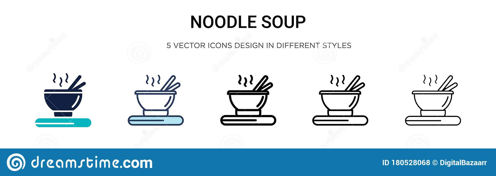 Noodle Soup Icon In Filled Thin Line Outline And Stroke Style Vector Illustration Of Two Colored And Black Noodle Soup Vector Stock Vector Illustration Of Chopsticks Dish 180528068