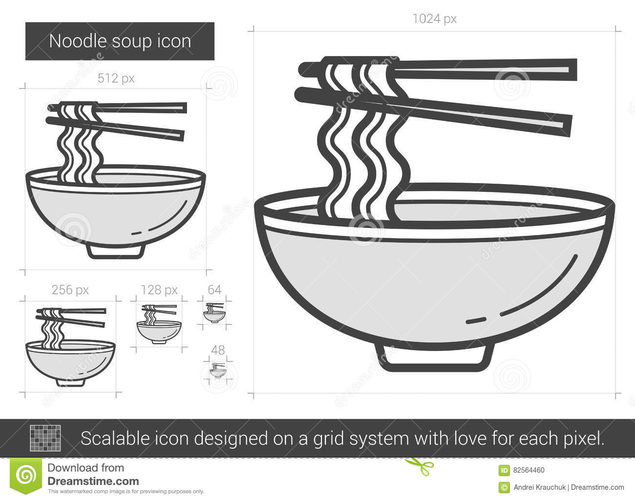 Noodle Soup Line Icon Stock Vector Illustration Of Design 82564460