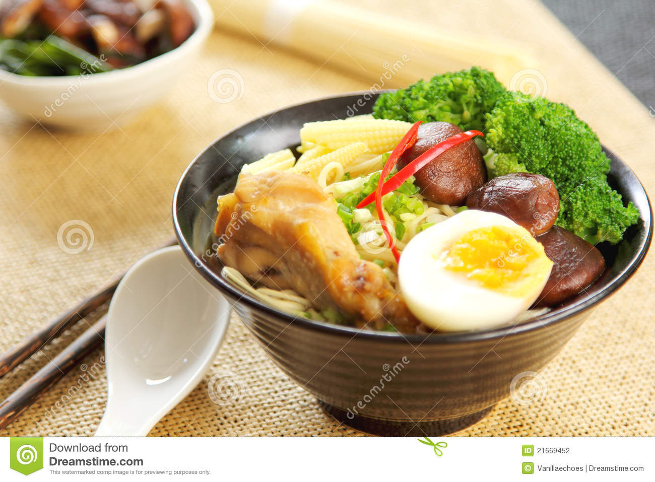 Noodle Soup With Mushroom And Chicken Stock Photography - Image ...