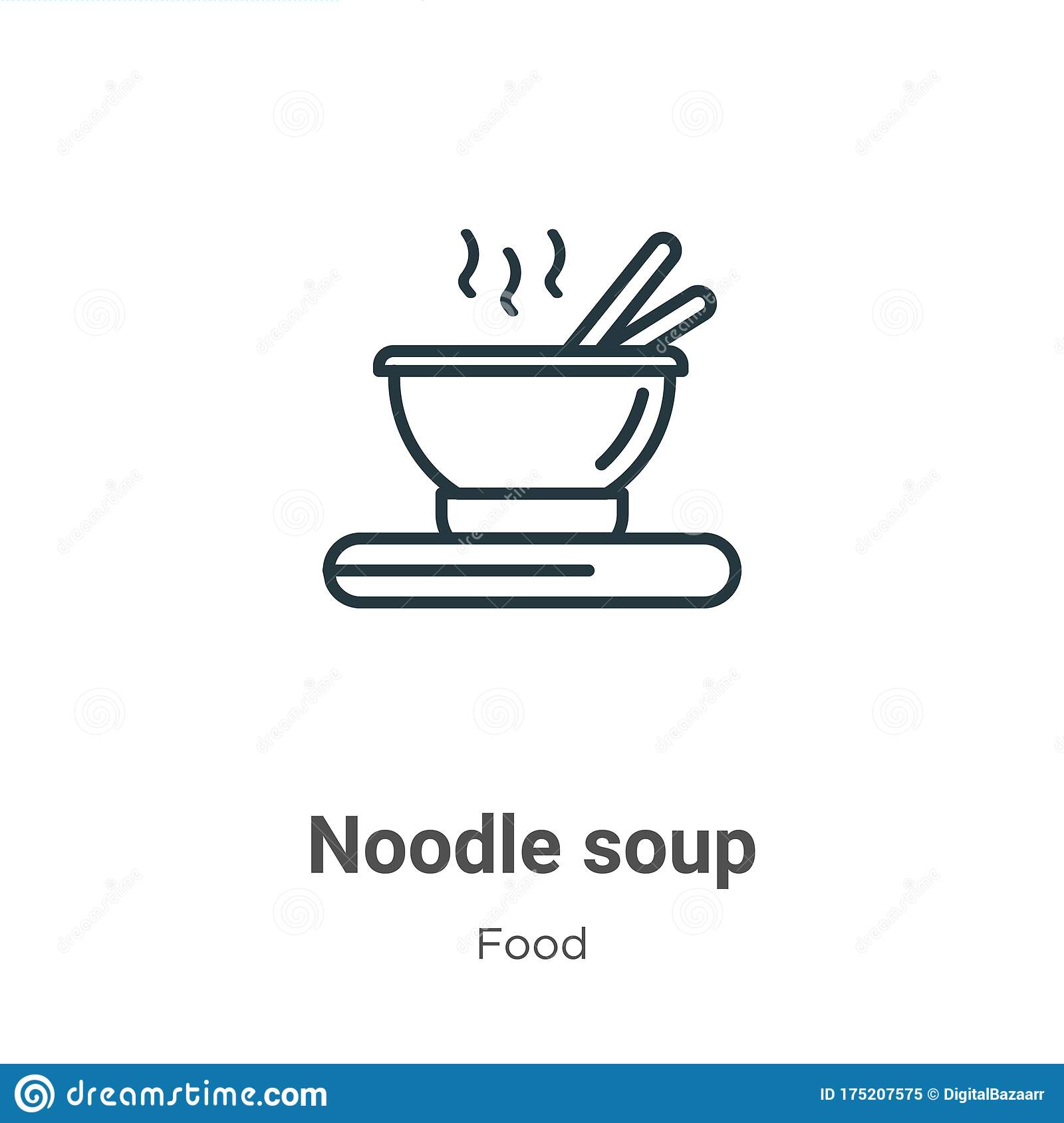 Noodle Soup Outline Vector Icon Thin Line Black Noodle Soup Icon Flat Vector Simple Element Illustration From Editable Food Stock Vector Illustration Of Bowl Delicious 175207575