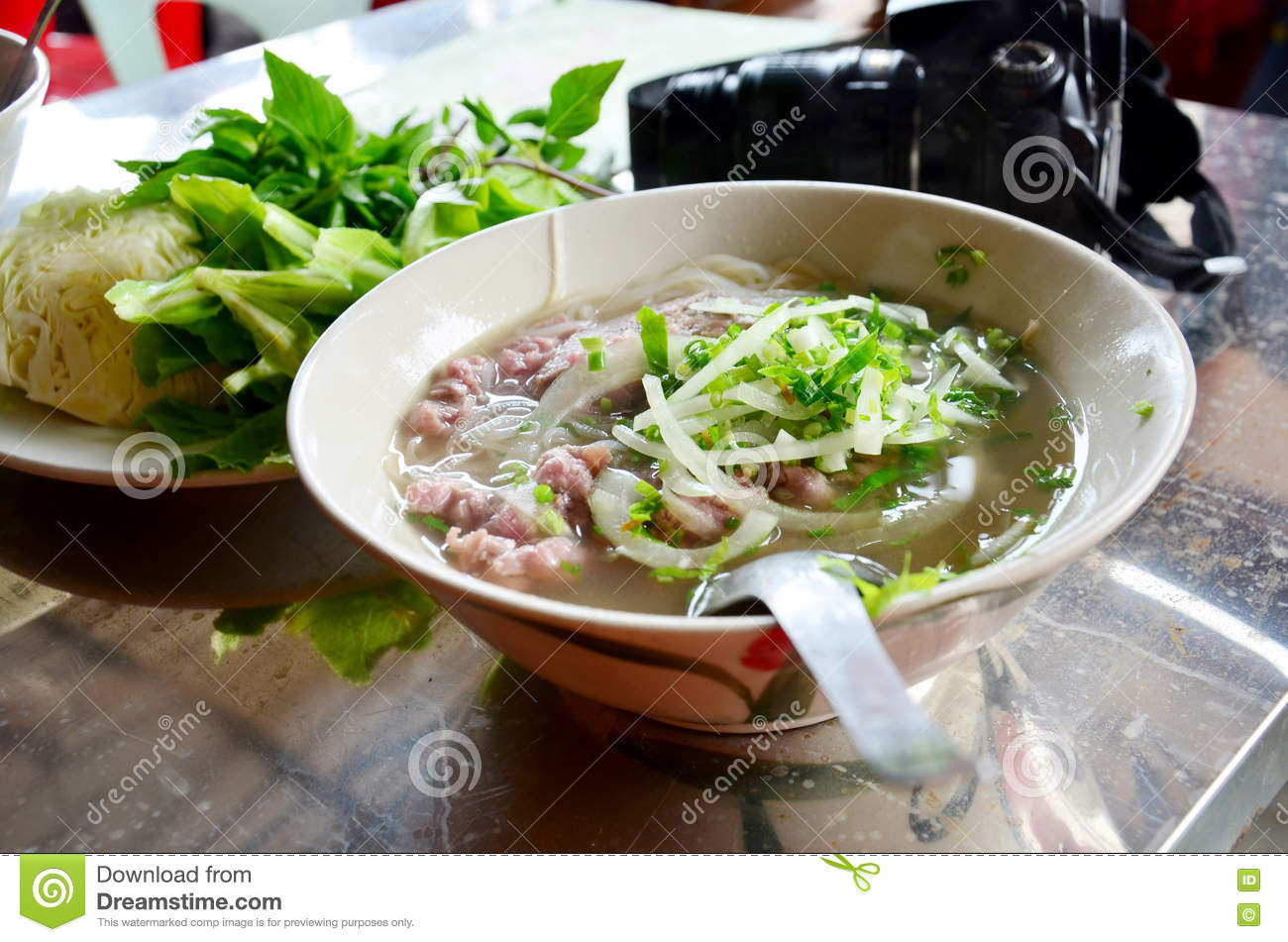 Noodle soup vietnam style vietnamese called Pho on the table in