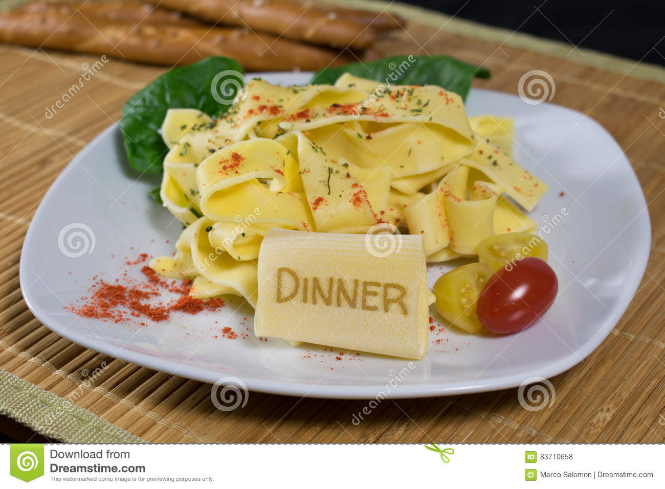 Noodles With Lettering Dinner Stock Photo