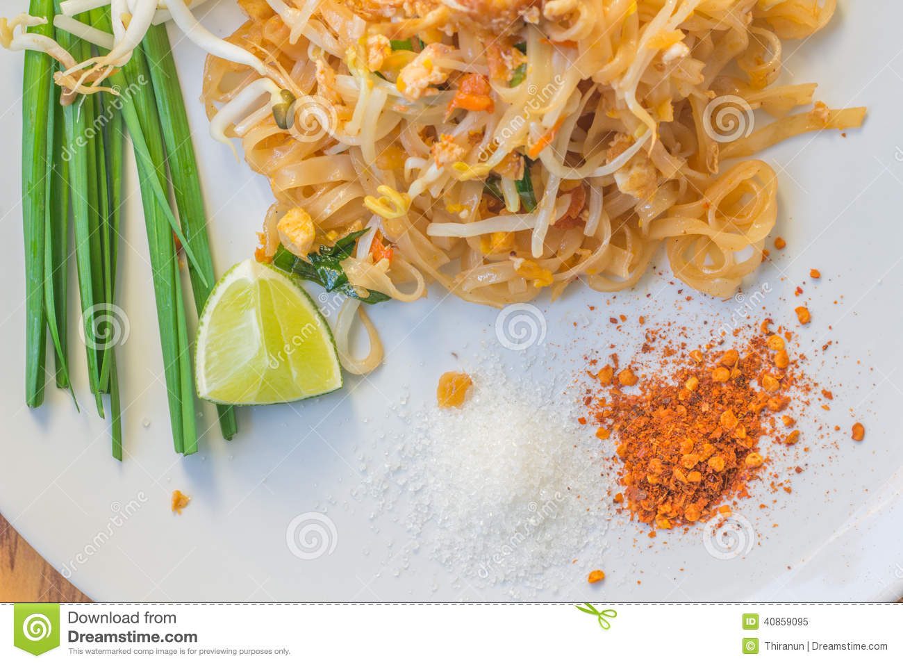 Noodles pad Thai is a thin rice noodles fried with tofu, vegetable ...