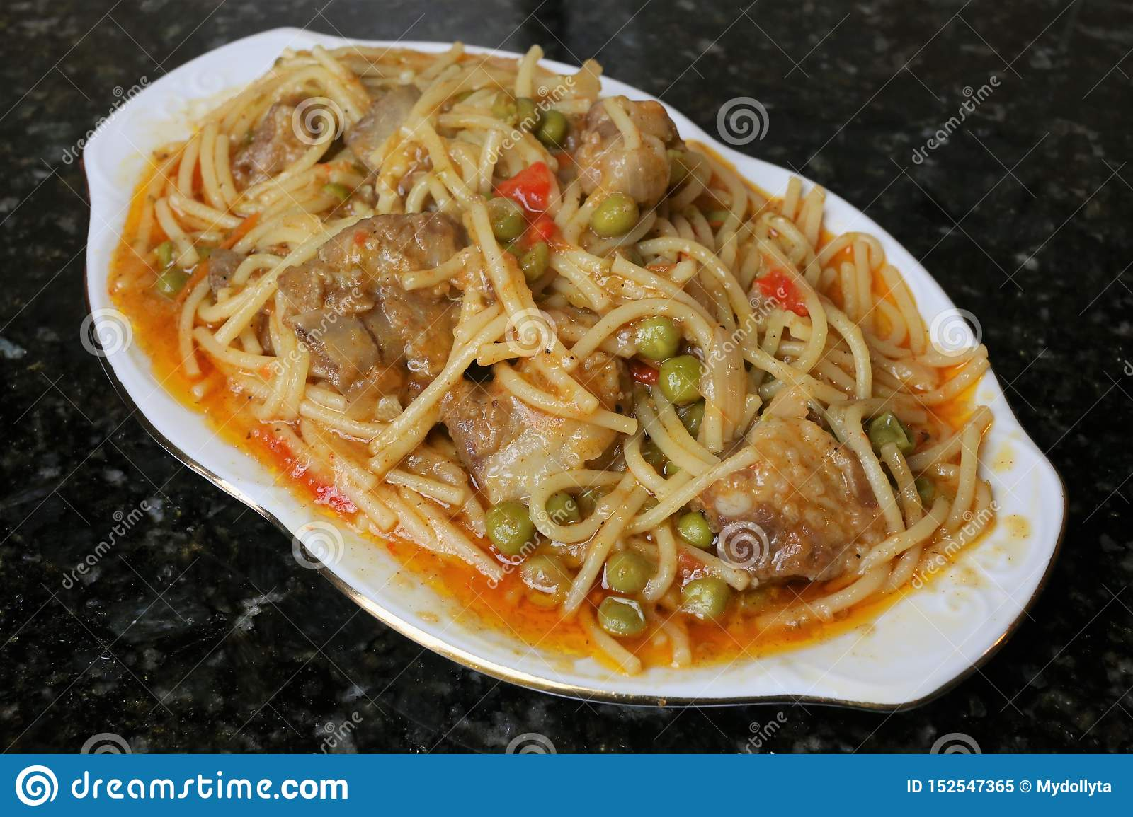Noodles with pork ribs andalusian and spanish cuisine