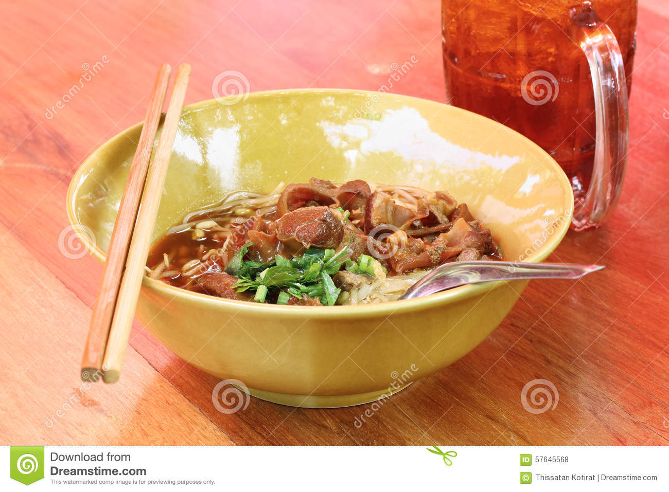 Noodles with pork with soup Thai style. Thai peoples call braised pork ...