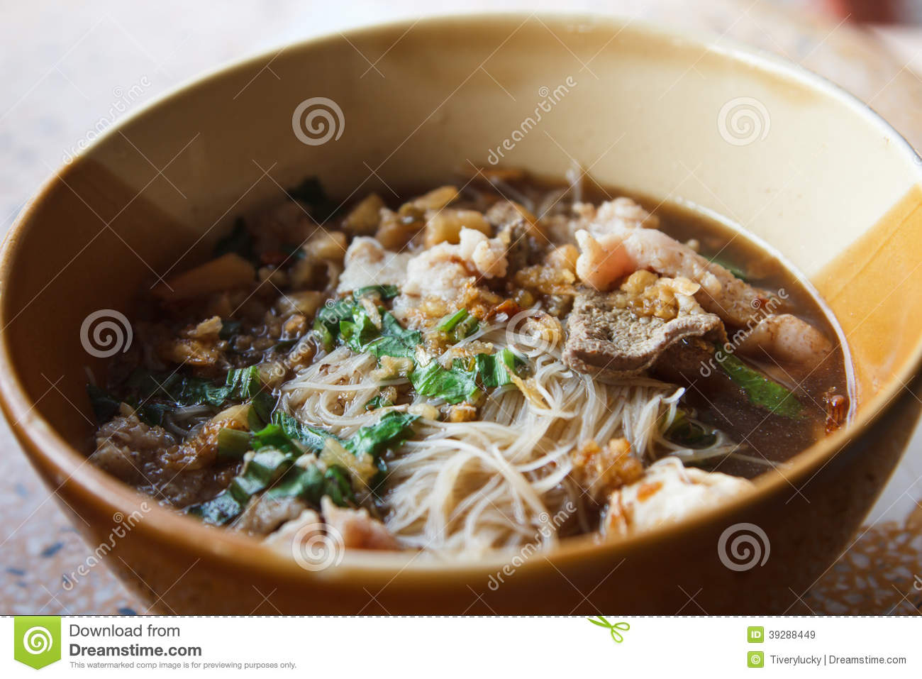 Noodles In Soup Spicy Asian Style. Stock Photo - Image: 39288449