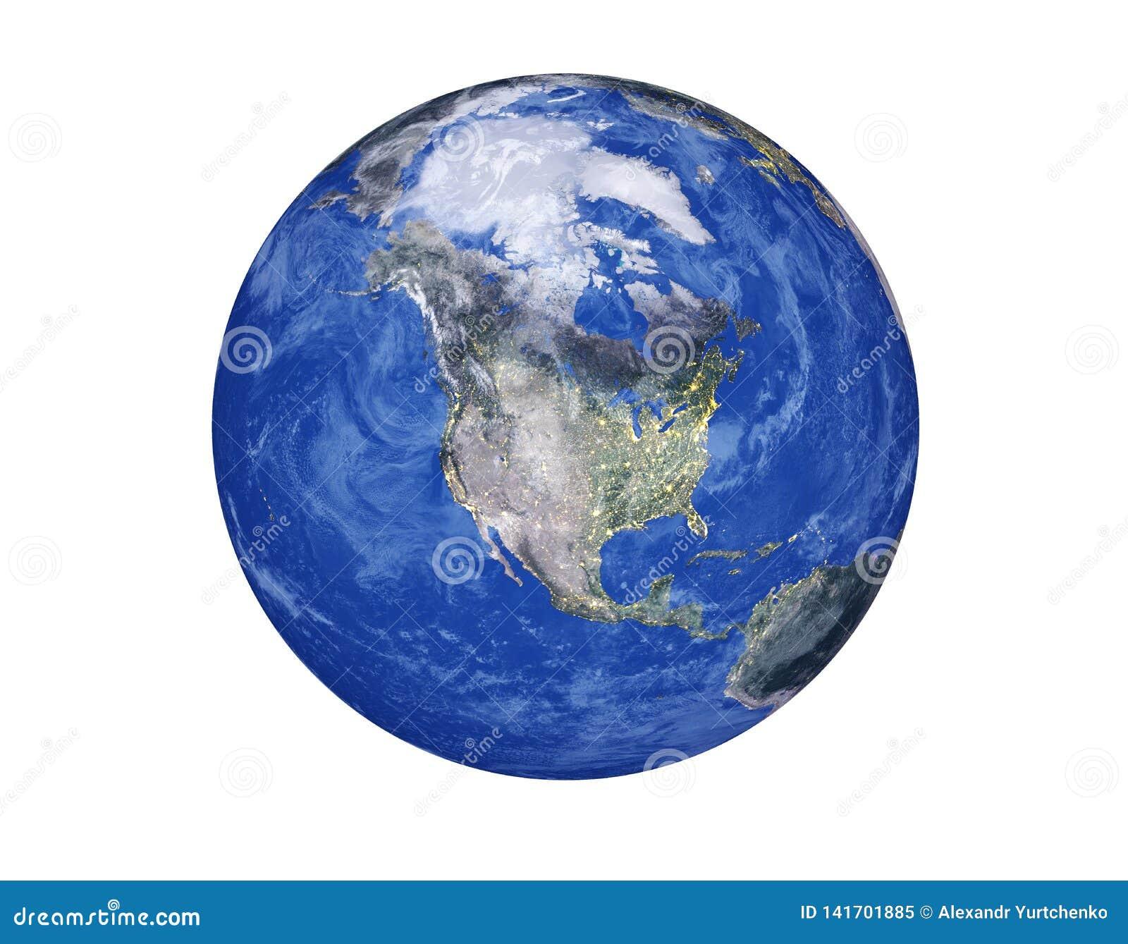 Noord-Amerika op de Aardebol op witte achtergrond wordt geïsoleerd die Elementen van dit die beeld door NASA wordt geleverd