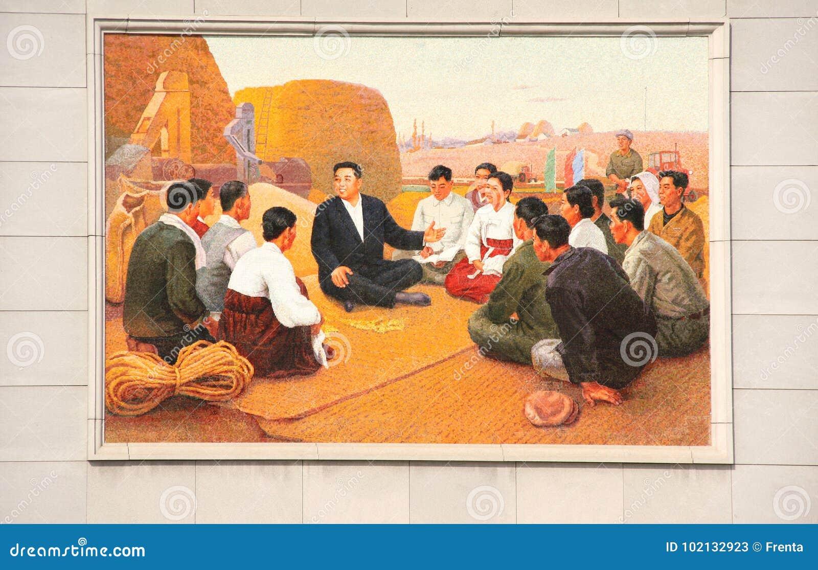 NOORD-KOREA, NAMPHO - 21 SEPTEMBER, 2017: mozaïek met Kim Il Sun