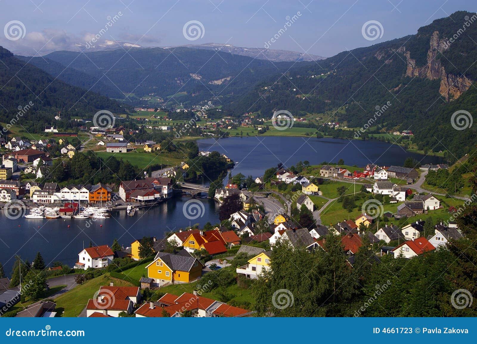 Noorse stad door fjord