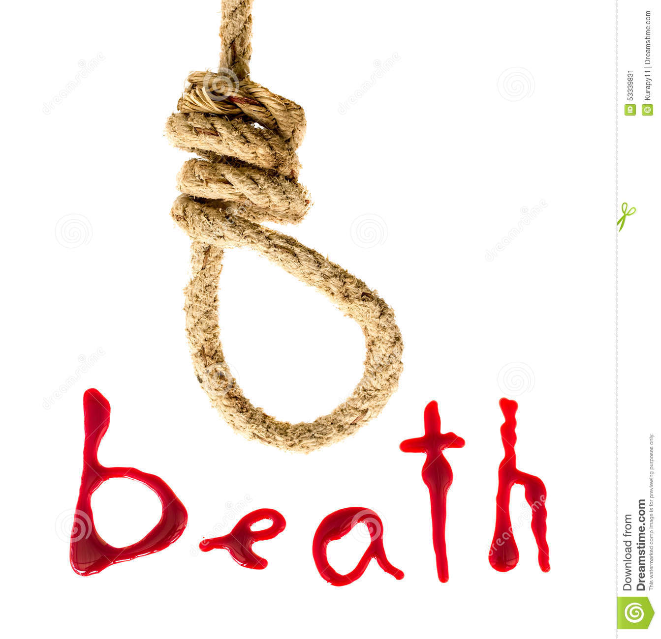 Noose And Bloody Letters Stock Image Image Of Dead Liquid 53339831