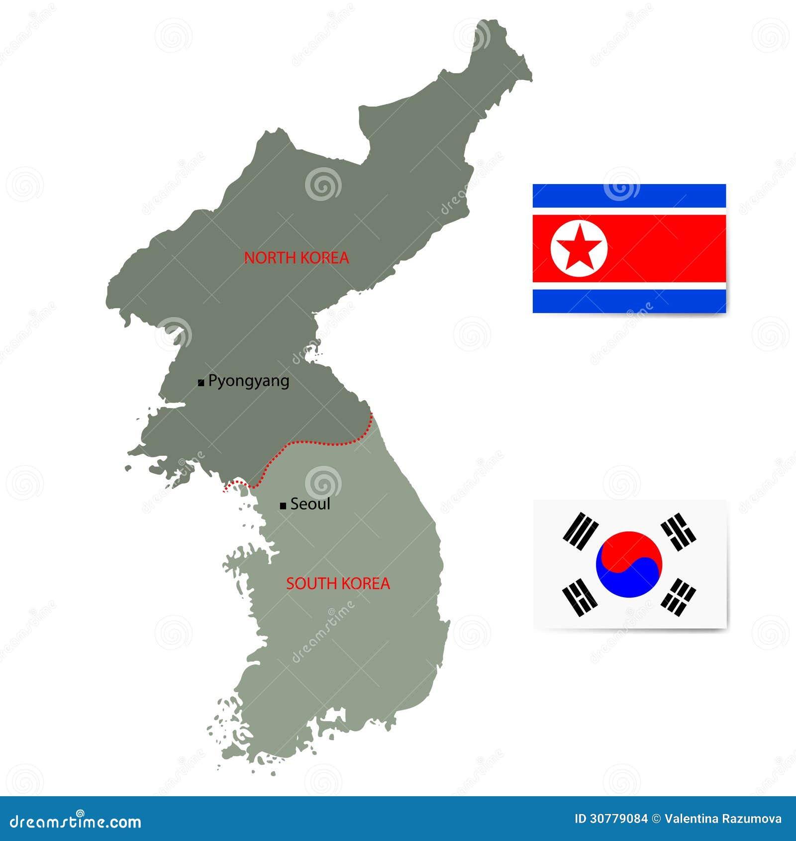 Nord- och Sydkorea vektoröversikt med flaggor