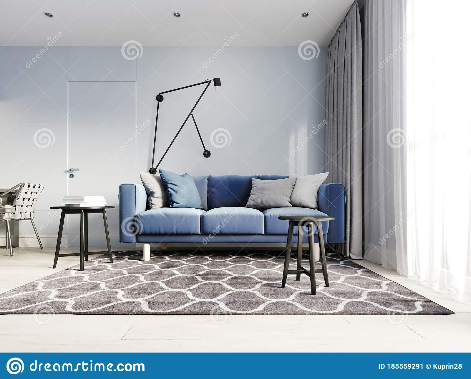 Nordic Design Living Room With A Modern Blue Sofa And Black Side Tables With Decor Scandinavian Contemporary Style Design Hinged Stock Illustration Illustration Of Living Melbourne 185559291