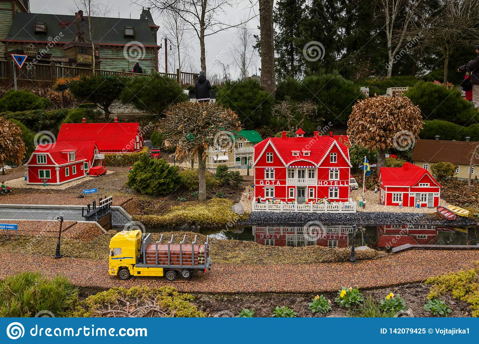 Nordic House And Truck Made Of Lego Editorial Image - Image