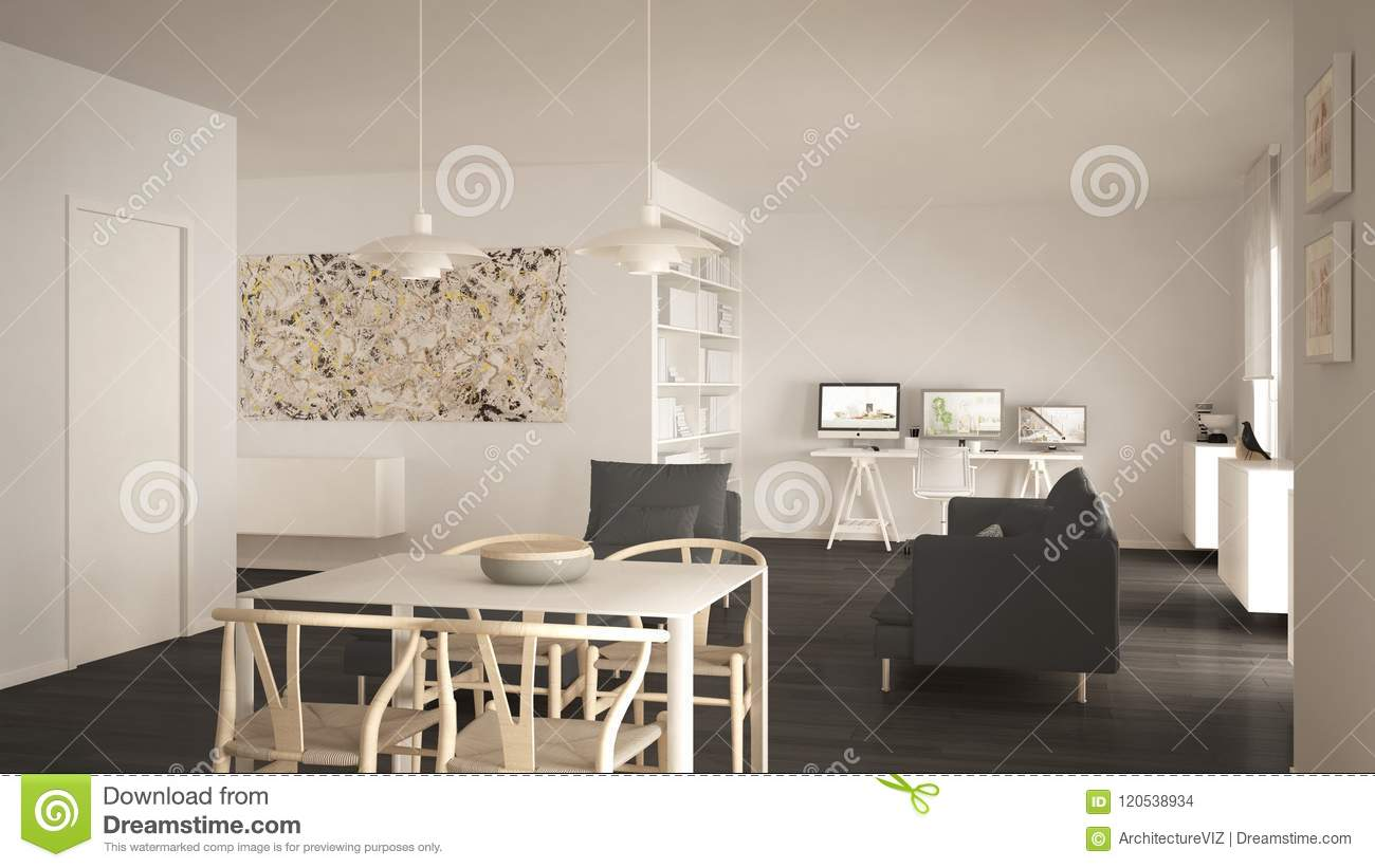 Nordic Minimalist Living Room Open Space With Dining Table ...