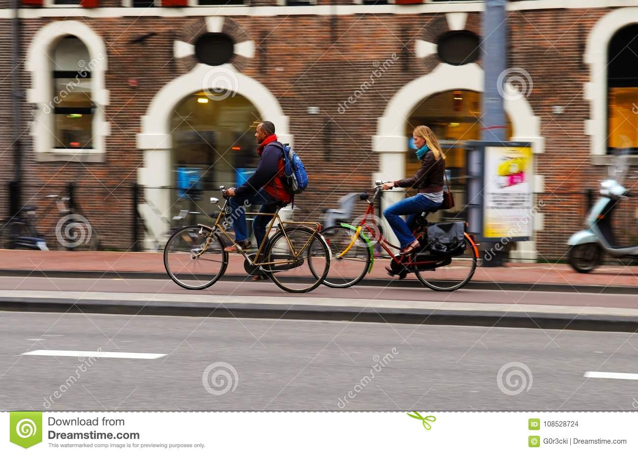 Nordic Outdoor Lifestyle, Focus Continuous Effect - Blonde Young Woman and Black Man Riding Bikes
