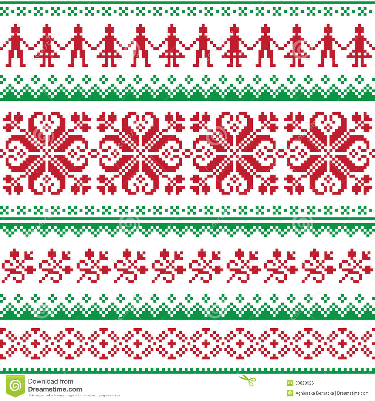 Nordic Seamless Knitted Red And Green Pattern Royalty Free ...