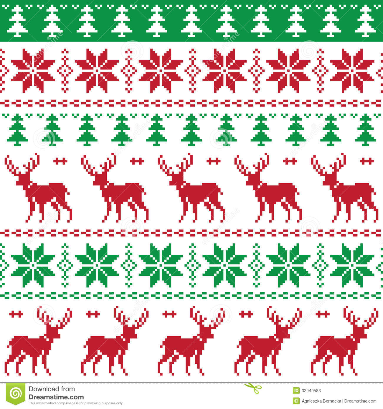 Nordic Seamless Pattern With Deer And Christmas Tree Stock Photos ...