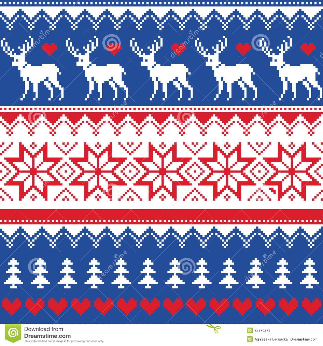 Nordic Seamless Pattern With Deer And Christmas Trees Royalty Free ...