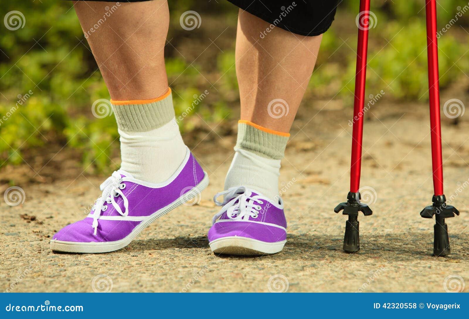 Nordic Walking Closeup Of Mature Female Legs Stock Photo - Image 42320558-5223