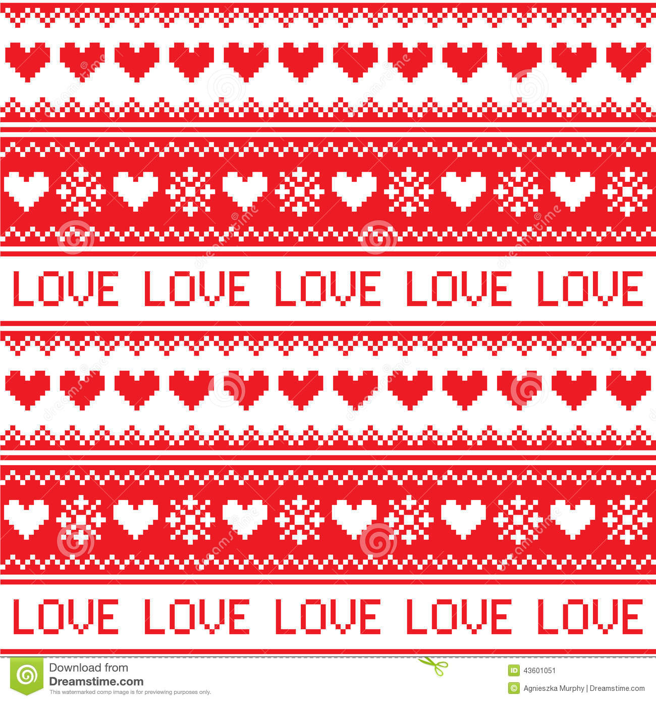 nordic winter love seamless red heart pattern stock