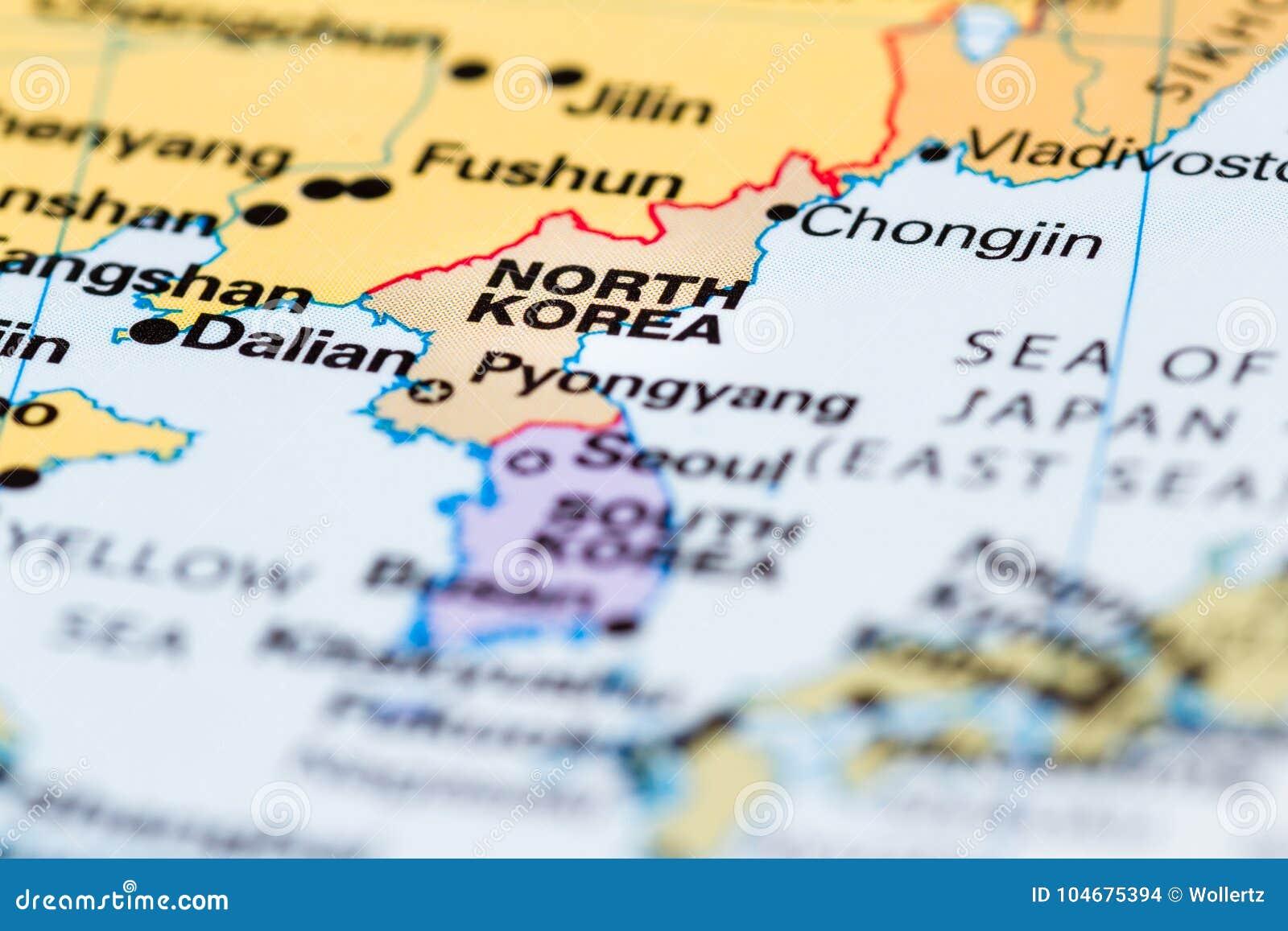 Nantes Karte.Nordkorea Auf Einer Karte Stockfoto Bild Von Nantes 104675394