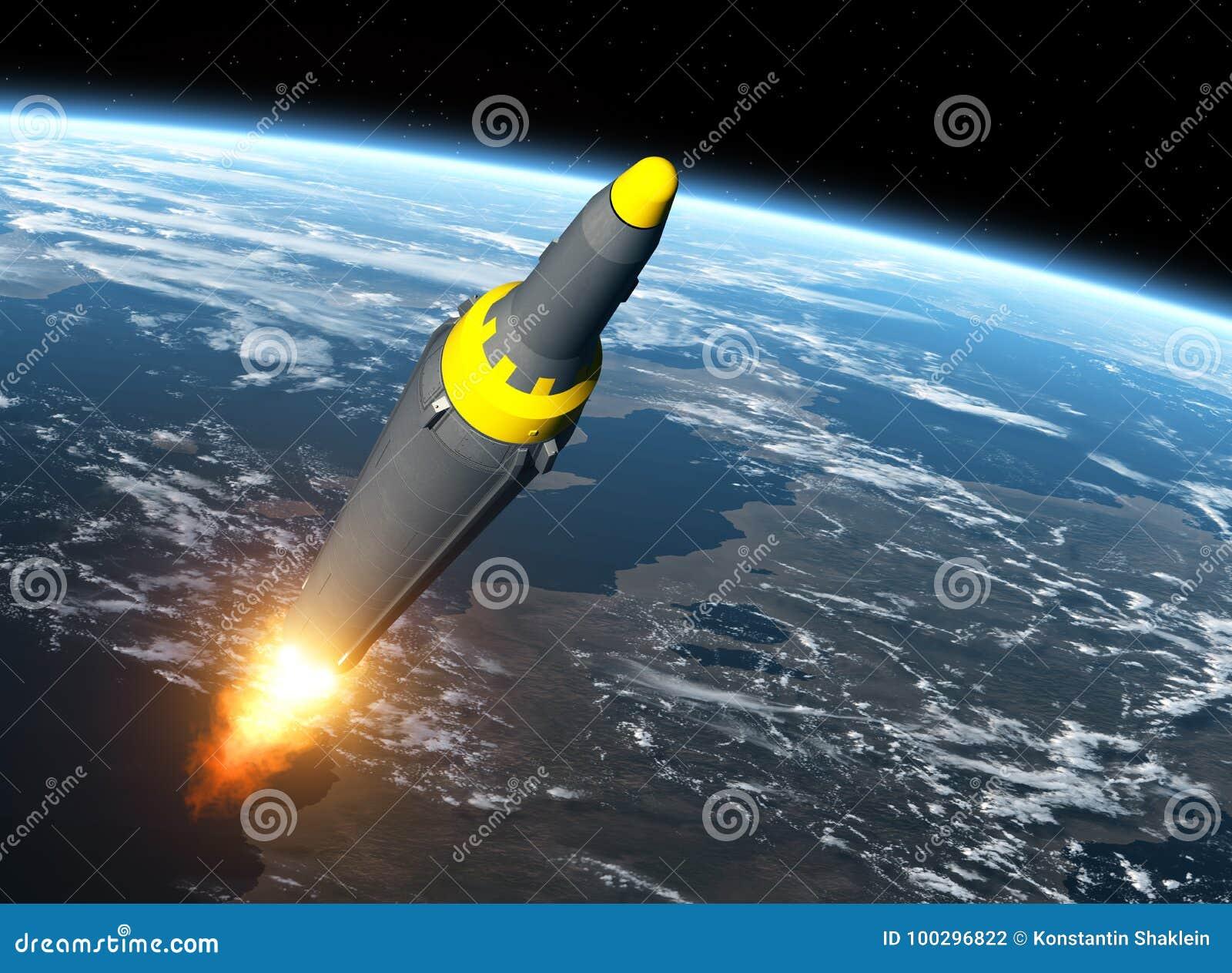 Nordkoreanische ballistische Rakete auf Hintergrund von Erde
