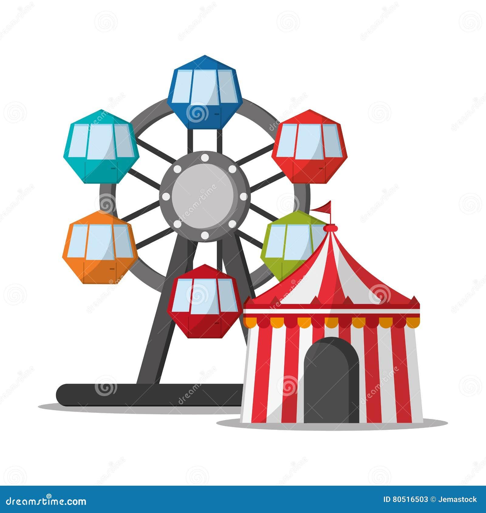 Noria y tienda del diseño del carnaval