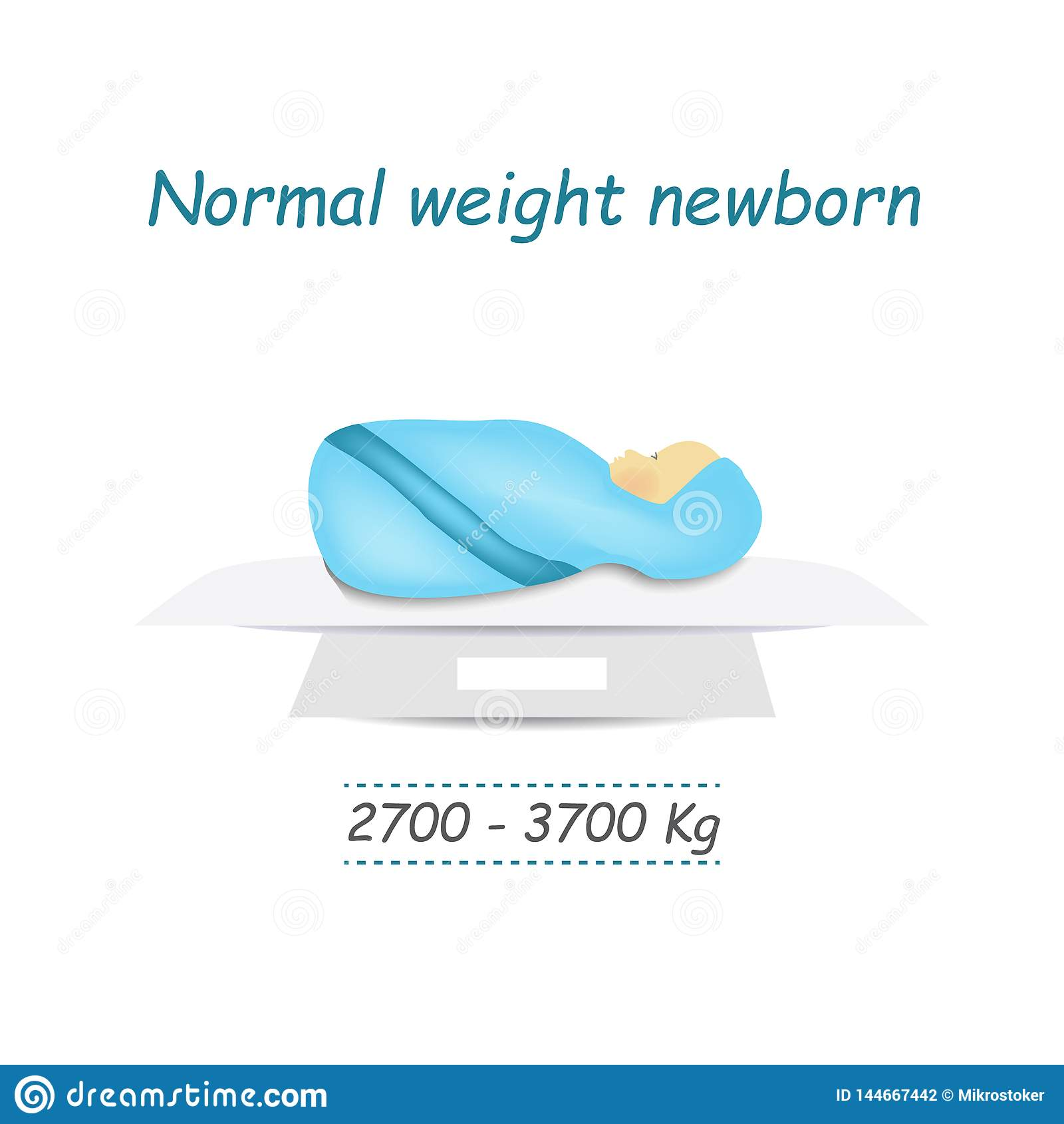 Norm Weight Of A Newborn Baby  Infographics  Vector Illustration On