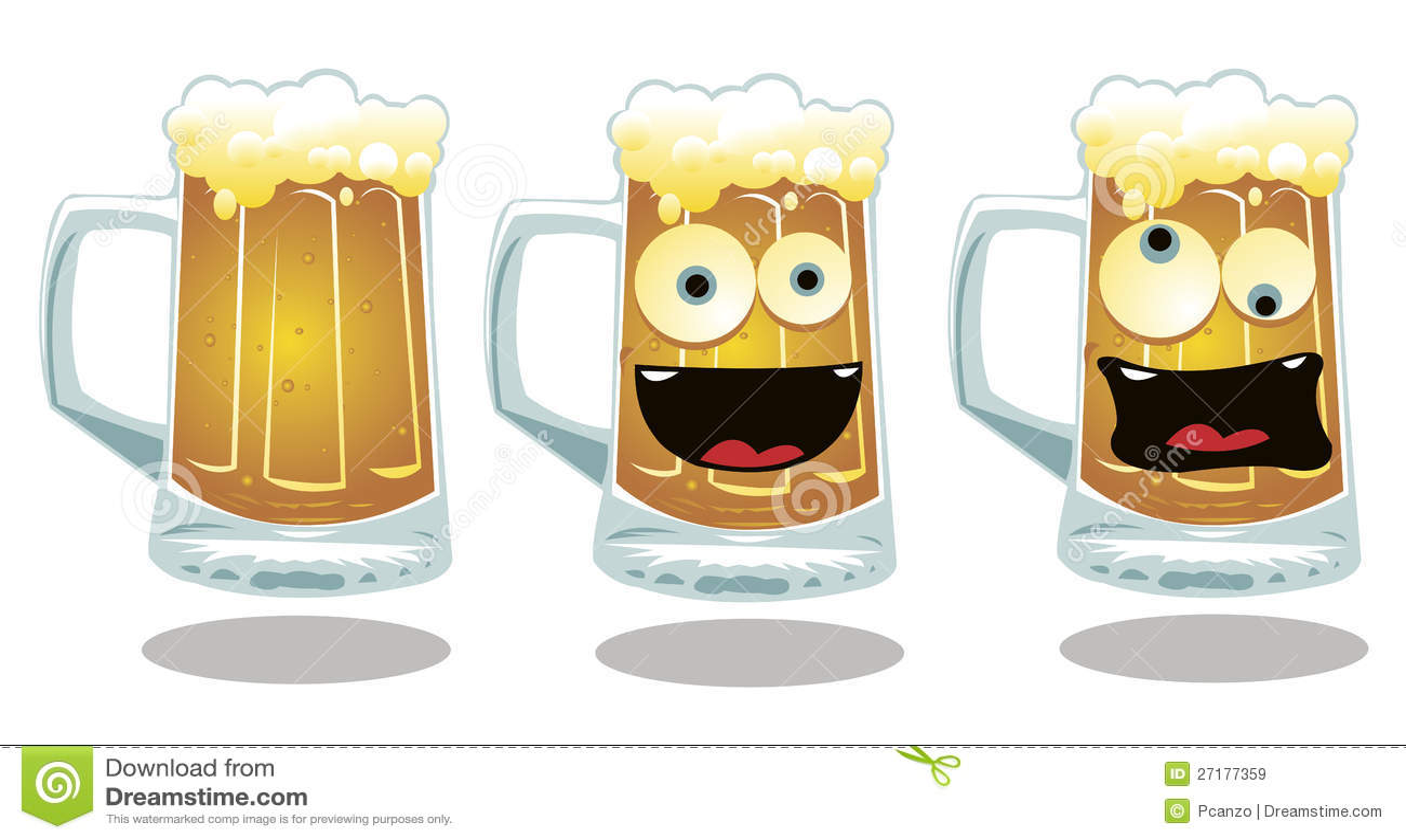 Botella De Cerveza Dibujo: Normale En Grappige Glazen Bier Vector Illustratie