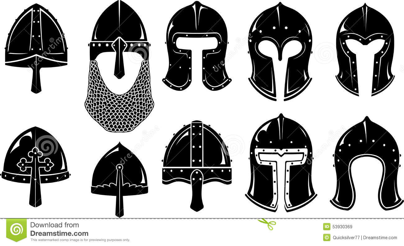 Norman And Barbute Medieval War Helm Stock Vector