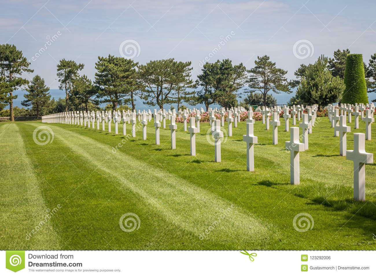 The Normandy American Cemetery at Omaha beach, Normandy, France