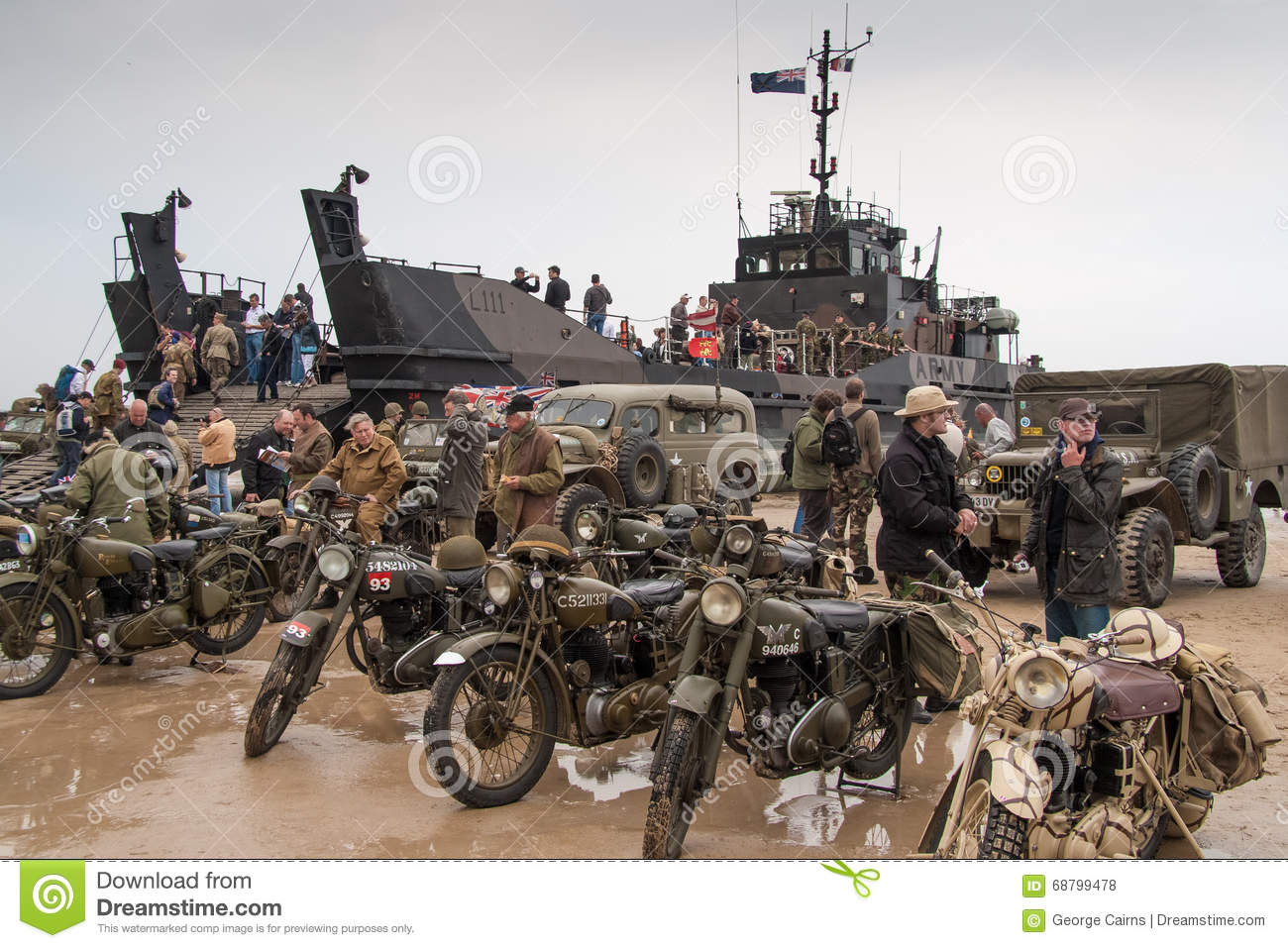 Normandy Beach On D Day Anniversary Editorial Stock Photo