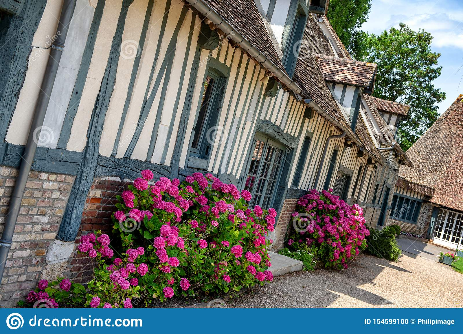 Normandy French House View Of A Typical French Normand House Stock Photo Image Of Flowers Normandy 154599100