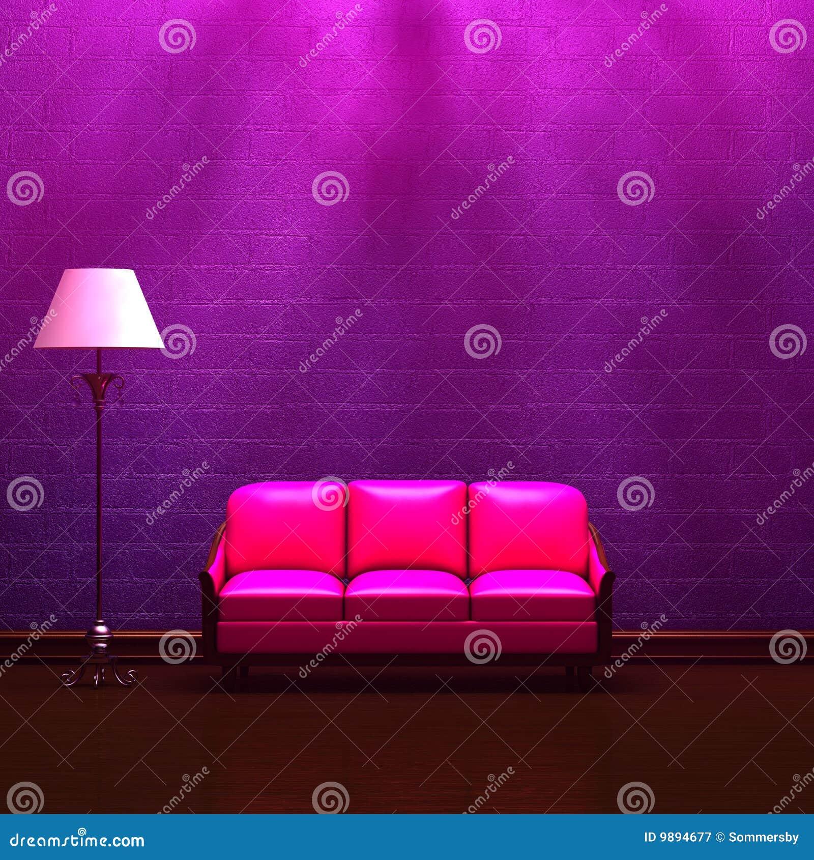 Norme pourprée de rose intérieur de lampe de divan