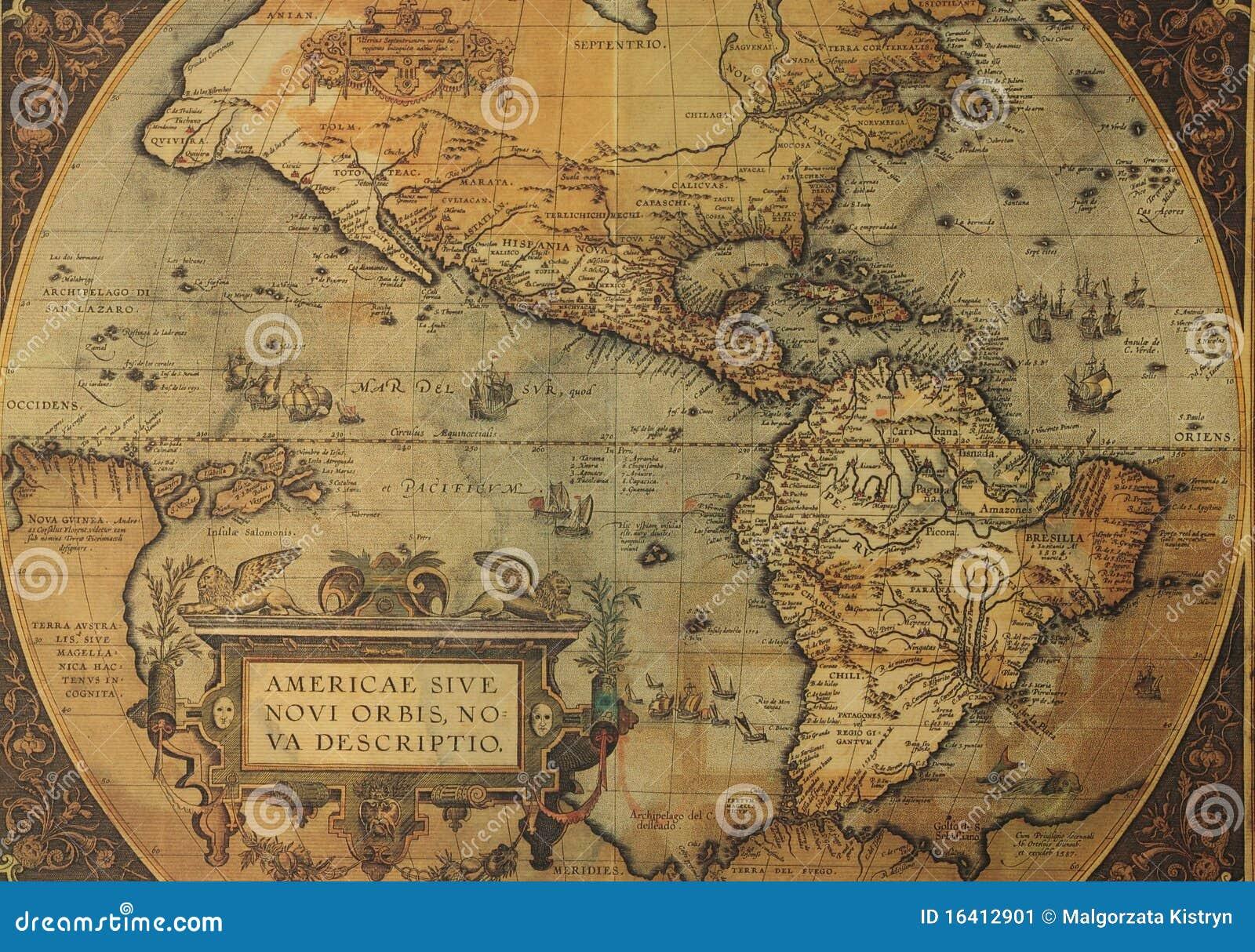 Norr söder Amerika för forntida översikter