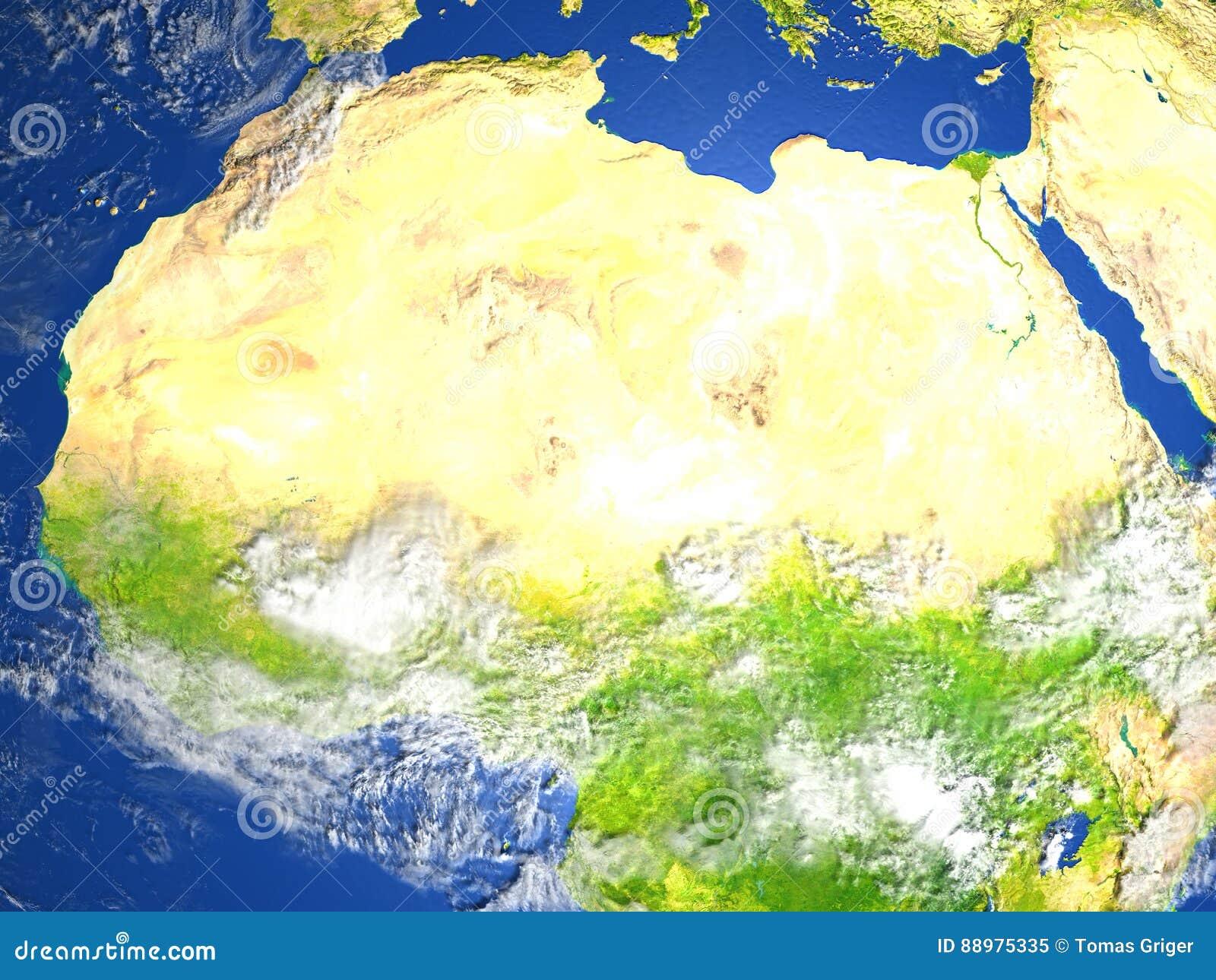 Norte de África na terra do planeta