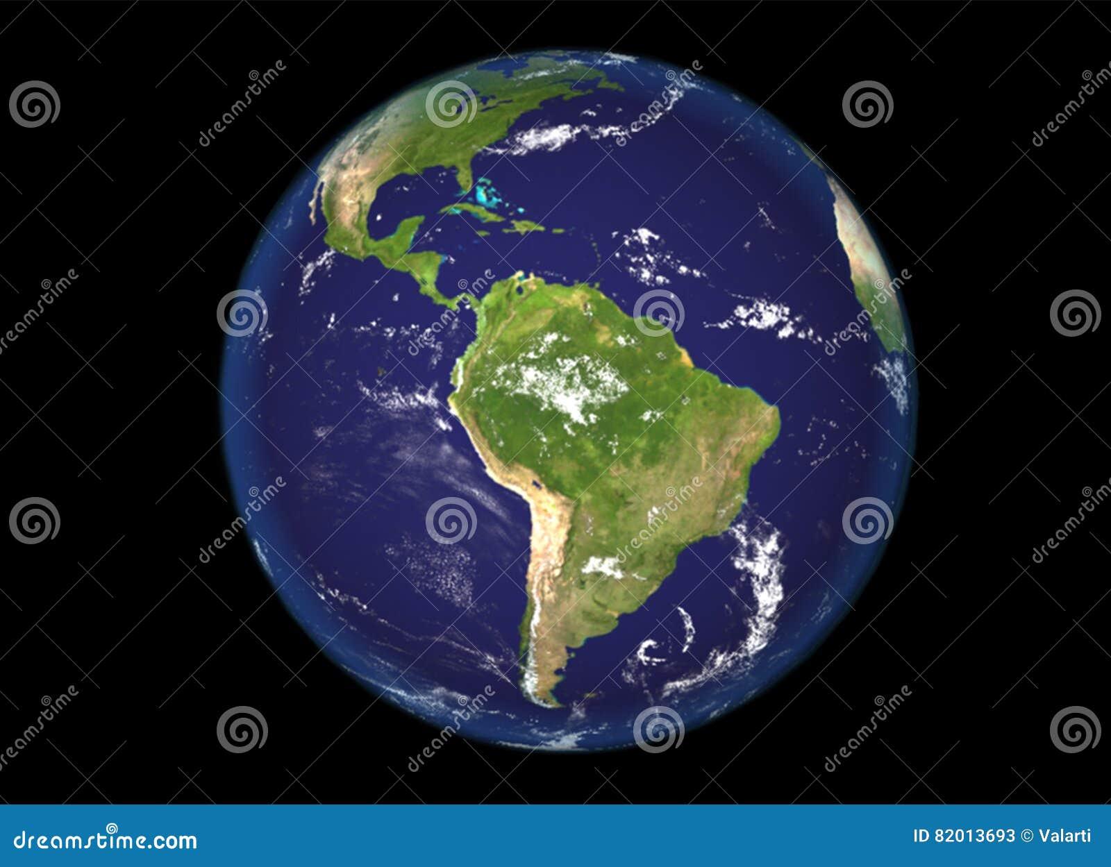 Norte del globo y ejemplo de Suramérica, 3d, textura de la tierra de la NASA