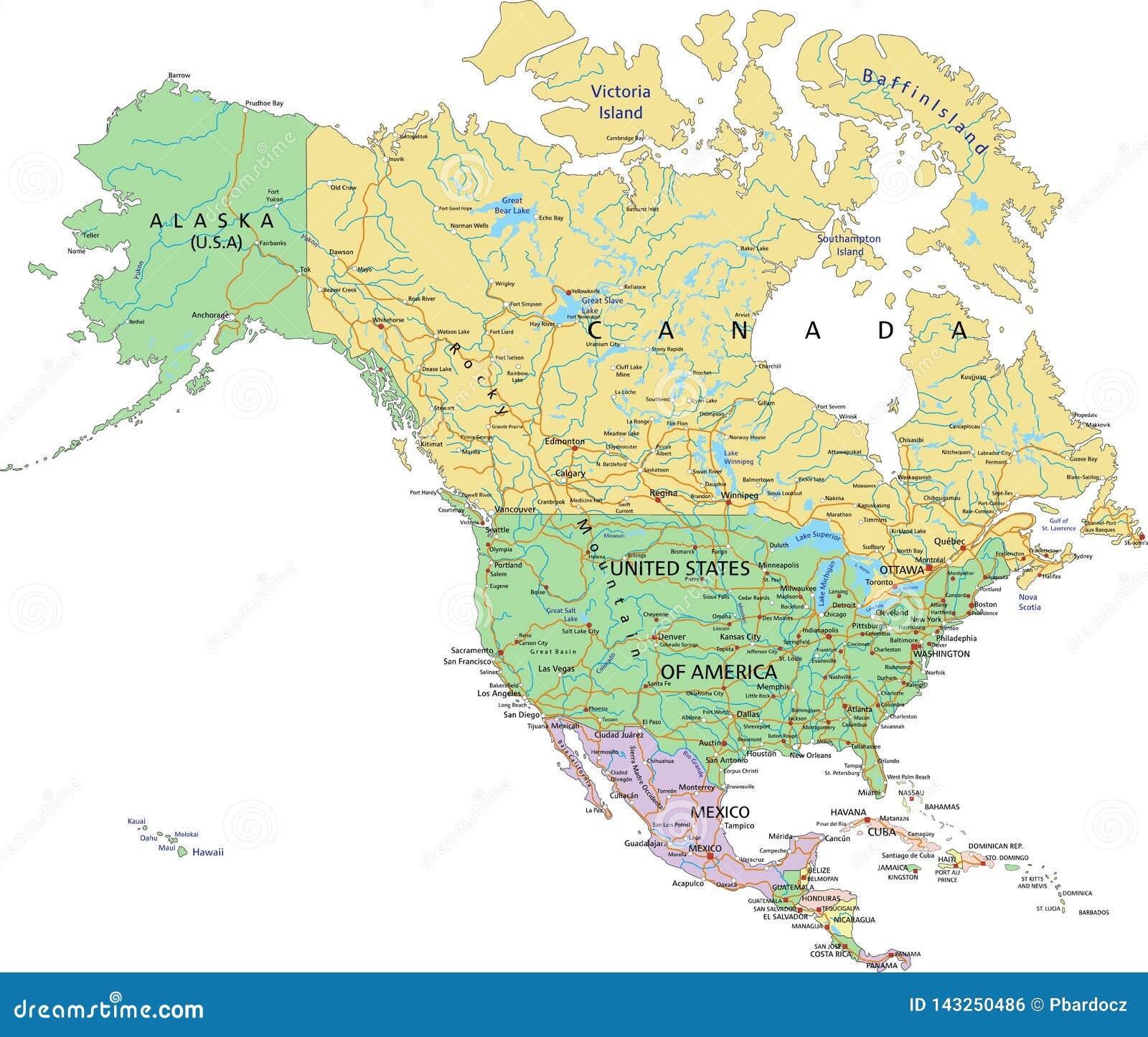 Norteamérica - mapa político editable altamente detallado