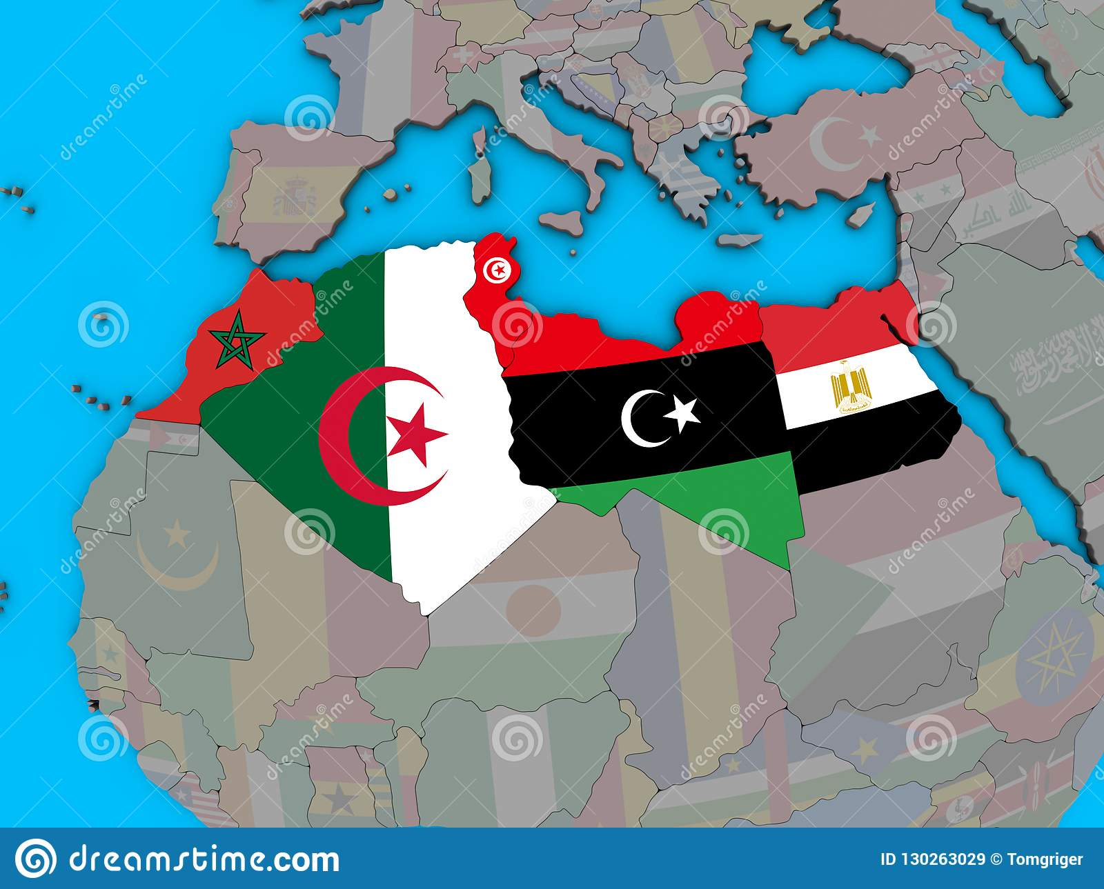 Map Of Africa With Flags.North Africa With Flags On 3d Map Stock Illustration Illustration