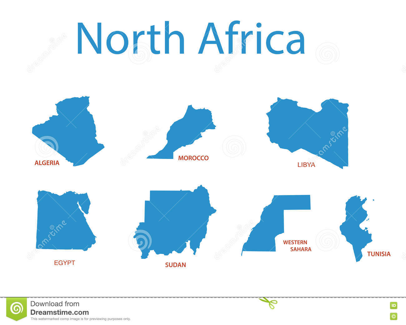 Tunisia North Africa Map.North Africa Maps Of Territories Vector Stock Vector