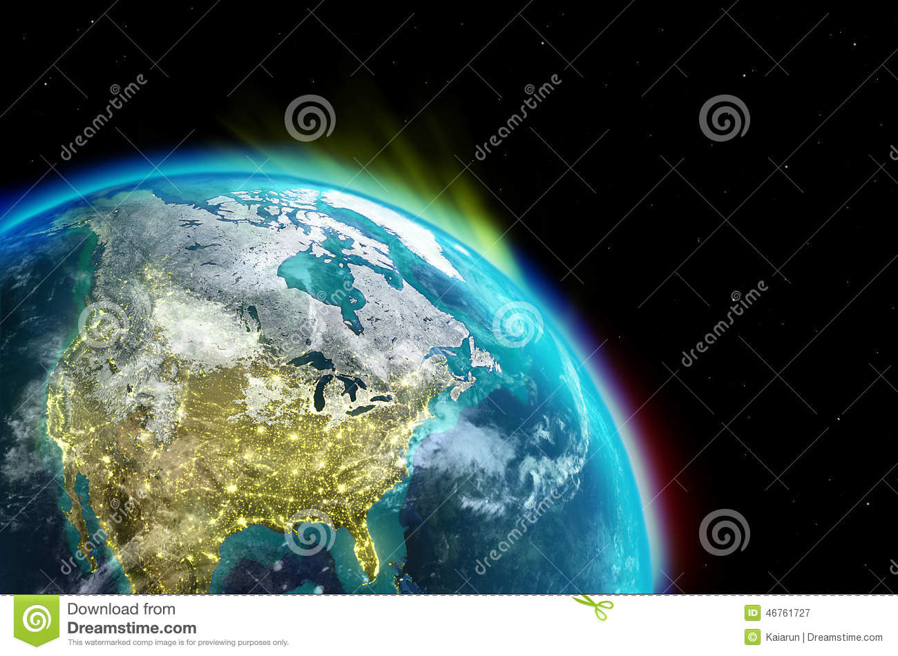 North america continent along with city lights from outer for From outer space