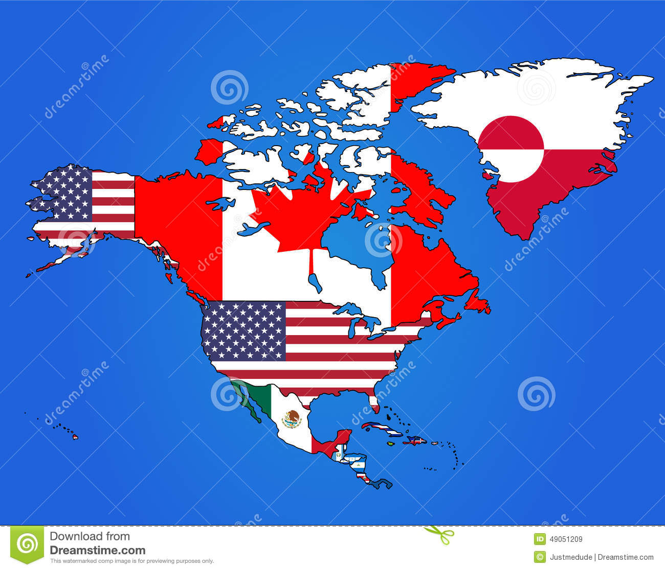 North America Flag Map stock vector Image of flags world 49051209