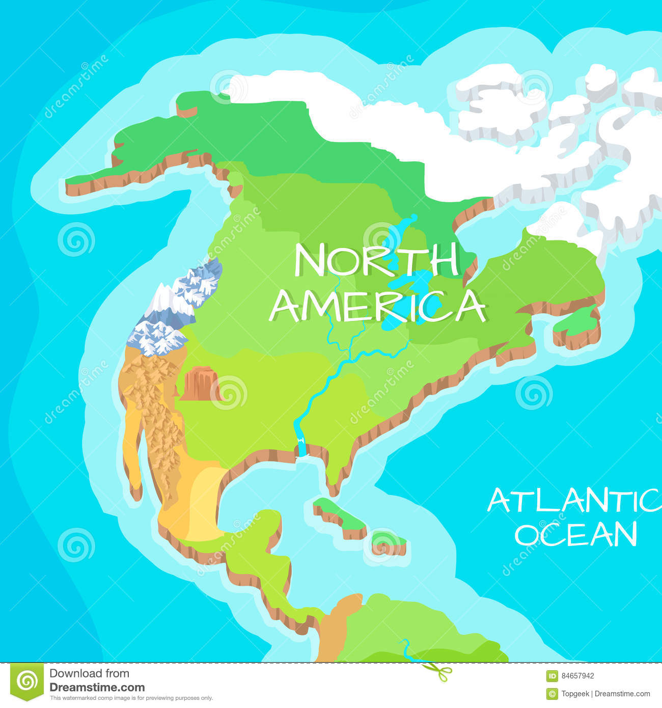 North America Mainland Vector Cartoon Relief Map Stock Vector ... on