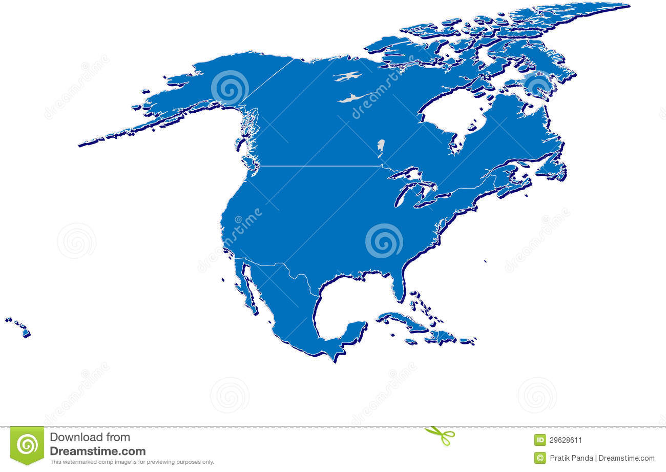 Picture of: North America Map In 3d Stock Illustration Illustration Of Caribbean 29628611