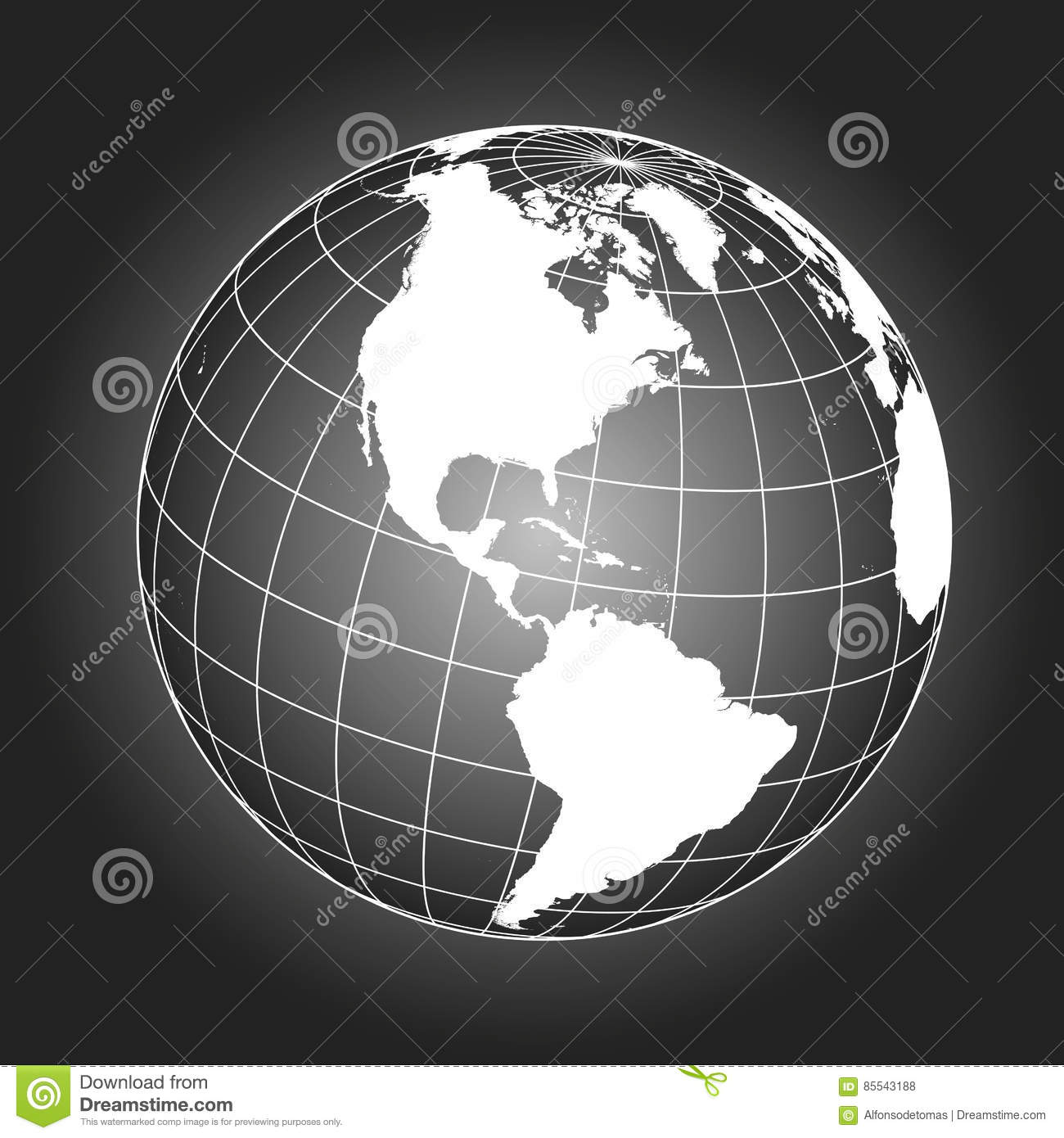 North America Map In Black And White Stock Vector - Illustration of ...