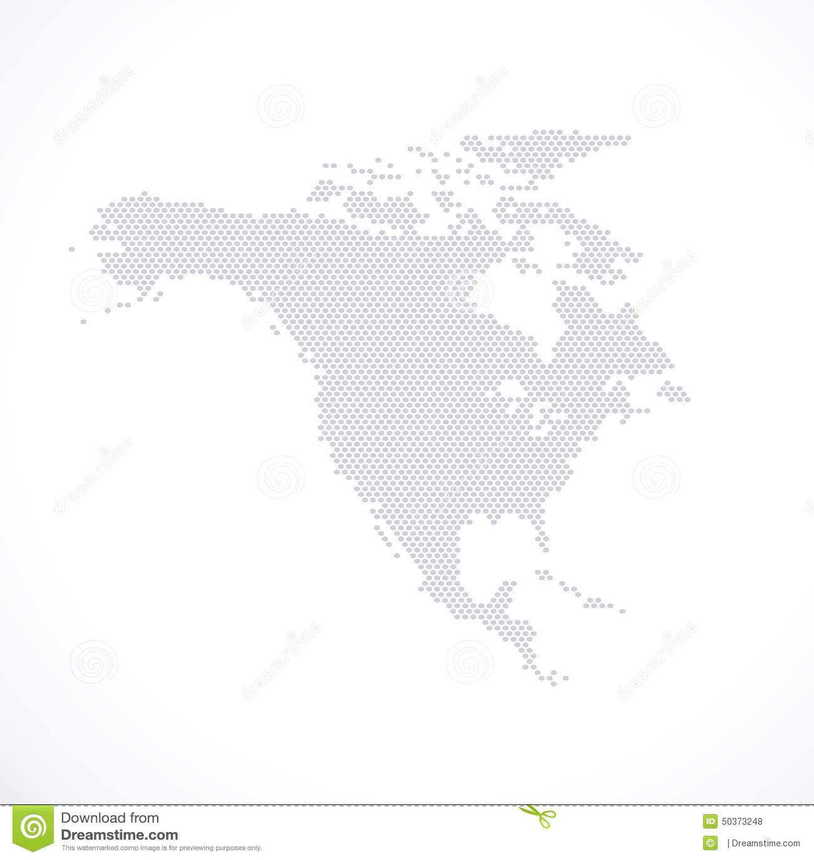 North America Map Hexagon Vector Illustration Stock Illustration - Vector map of north america