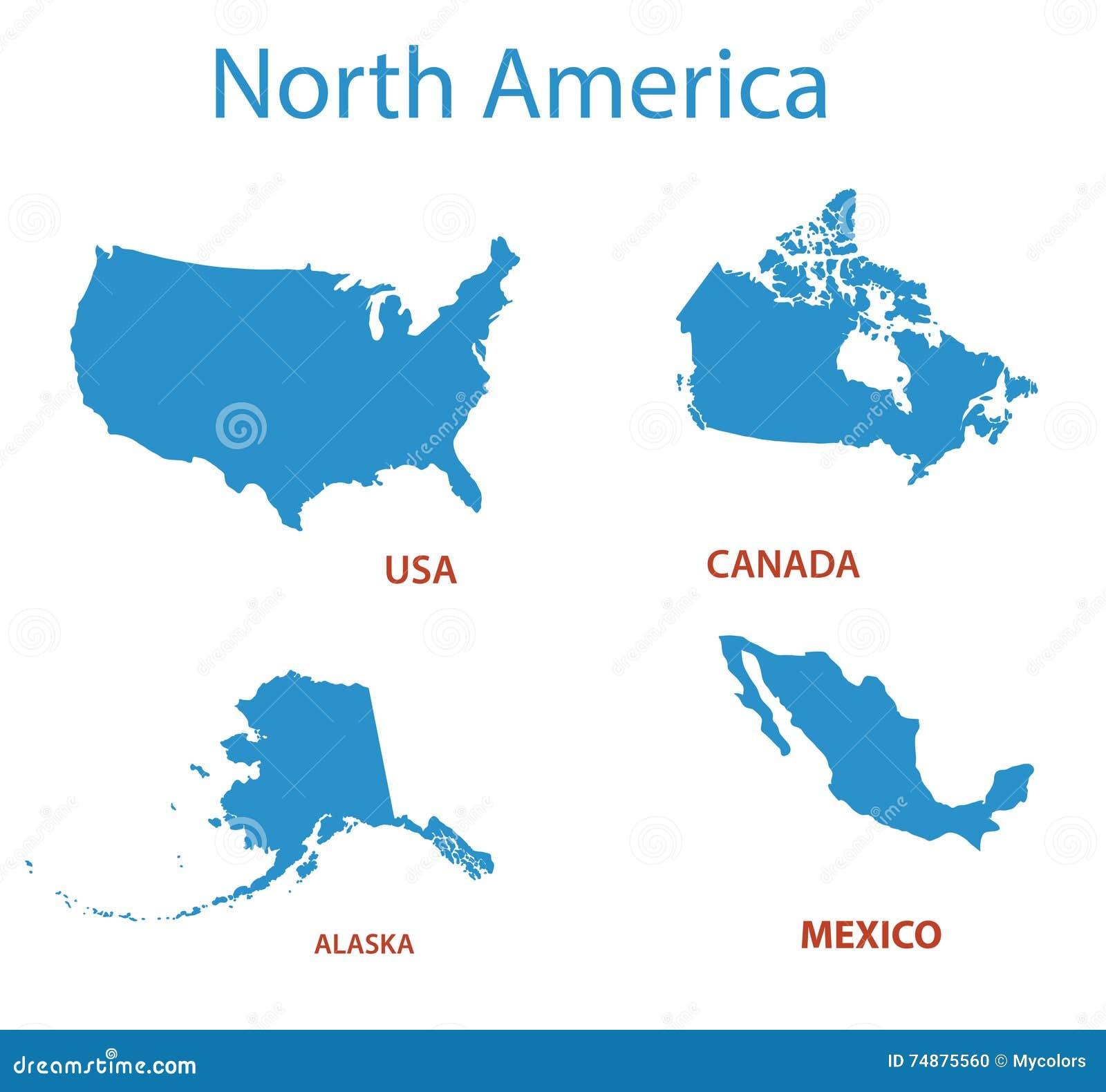 North America Maps Of Territories Vector Stock Vector Image - Alaska america map